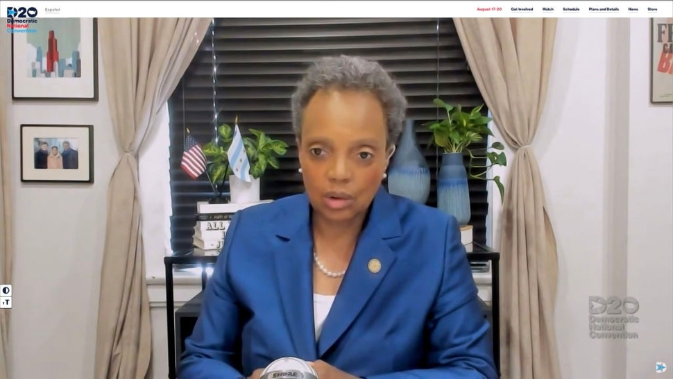 In this screenshot from the DNCC's livestream of the 2020 Democratic National Convention, Chicago Mayor Lori Lightfoot speaks with Presumptive Democratic presidential nominee former Vice President Joe Biden (not seen) during the virtual convention on August 17, 2020.