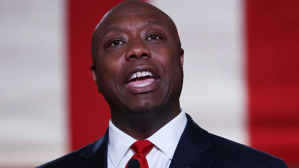 U.S. Sen. Tim Scott (R-SC) stands on stage in an empty Mellon Auditorium while addressing the Republican National Convention at the Mellon Auditorium on August 24, 2020 in Washington, DC.