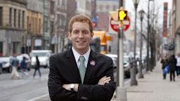 Mayor-elect Alex Morse, 22, poses on December 5, 2011 in downtown Holyoke, Massachusetts.