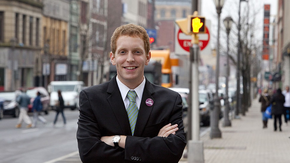 Mayor-elect Alex Morse, 22, poses on December 5, 2011 in downtown Holyoke, Massachusetts.