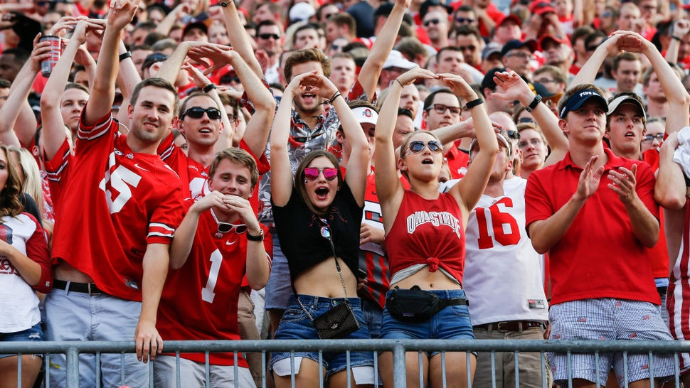 Ohio State students cheer during game action between the Army Black Knights and the Ohio State Buckeyes (8) on September 16, 2017 at Ohio Stadium in Columbus, Ohio.