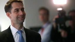Sen. Tom Cotton (R-AR) walks to a closed door Senate Intelligence Committee meeting, on March 8, 2018 in Washington, DC.