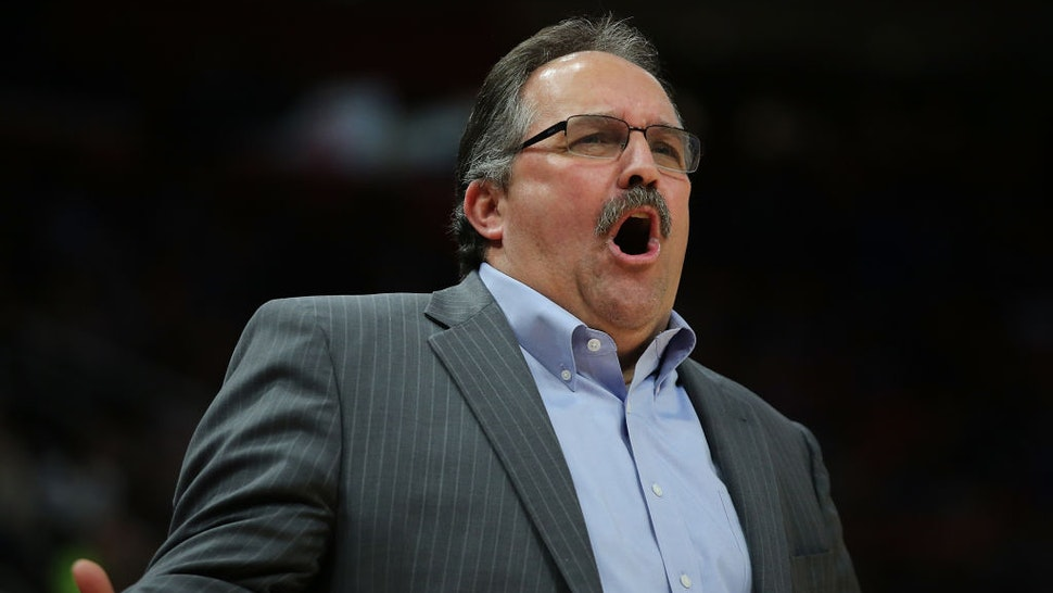 Stan Van Gundy shouts out instructions during the second quarter of the game against the Dallas Mavericks at Little Caesars Arena on April 6, 2018 in Detroit, Michigan.