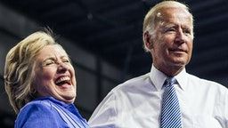 Democratic Nominee for President of the United States former Secretary of State Hillary Clinton rallies with longtime friend and colleague Vice President Joe Biden with Pennsylvania voters in Scranton, Pennsylvania on Monday August 15, 2016.