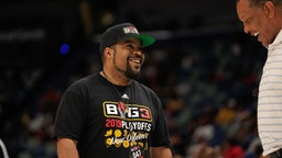 NEW ORLEANS, LA - AUGUST 25: BIG 3 founder Ice Cube talks with New Orleans Pelicans head coach Alvin Gentry during the BIG3 3-on-3 basketball league game on August 25, 2019 at the Smoothie King Center in New Orleans, LA.
