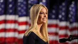 WASHINGTON, DC - AUGUST 27: Ivanka Trump, daughter of U.S. President Donald Trump and White House adviser, addresses attendees as Trump prepares to deliver his acceptance speech for the Republican presidential nomination on the South Lawn of the White House on August 27, 2020 in Washington, DC. President Trump is scheduled to deliver the speech in front of 1500 invited guests.