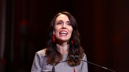 Jacinda Adern, New Zealand's prime minister, speaks during the Labour Party election campaign launch in Auckland, New Zealand, on Saturday, Aug. 8, 2020. Ardernlaunched her campaign for a second term by reminding voters of her leadership credentials and pledging to steer the country through the economic crisis unleashed by Covid-19. Photographer: Brendon O'Hagan/Bloomberg via Getty Images