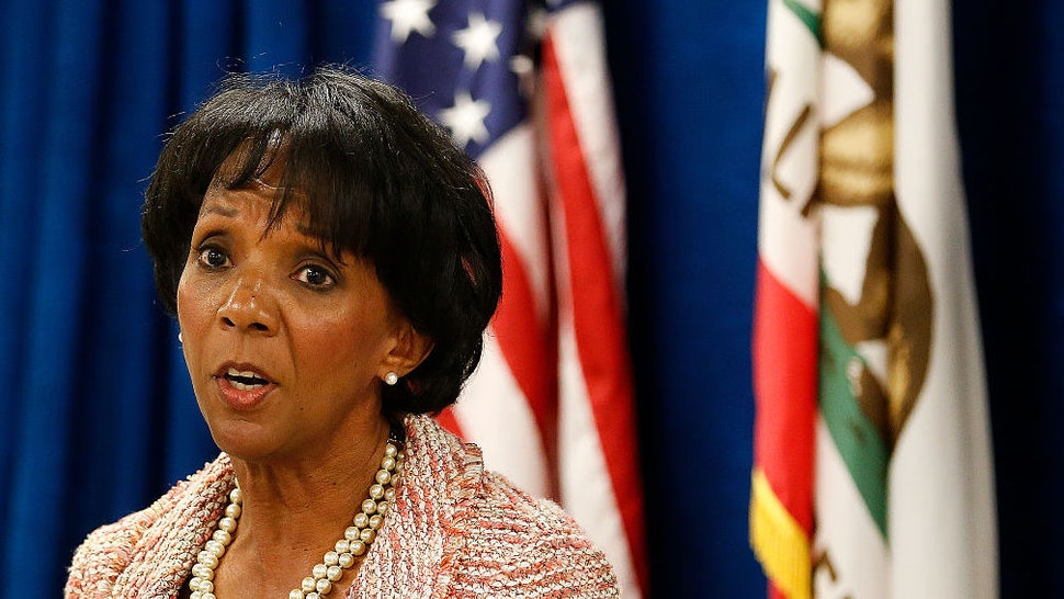 LOS ANGELES, CA-JUNE 29, 2015: Los Angeles County District Attorney Jackie Lacey announces the creation of the Conviction Review Unit, a new unit to review wrongful conviction claims made by defendants, during a press conference at the Hall of Justice in Downtown Los Angeles on June 29, 2015.