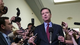 James Comey, former director of the Federal Bureau of Investigation (FBI), speaks to members of the media after testifying before the House Judiciary and House Oversight and Government Reform Committees joint investigation in Washington, D.C., U.S., on Friday, Dec. 7, 2018. Monday, January 20, 2020, marks the third anniversary of U.S. President Donald Trump's inauguration. Our editors select the best archive images looking back over Trump's term in office. Photographer: Al Drago/Bloomberg