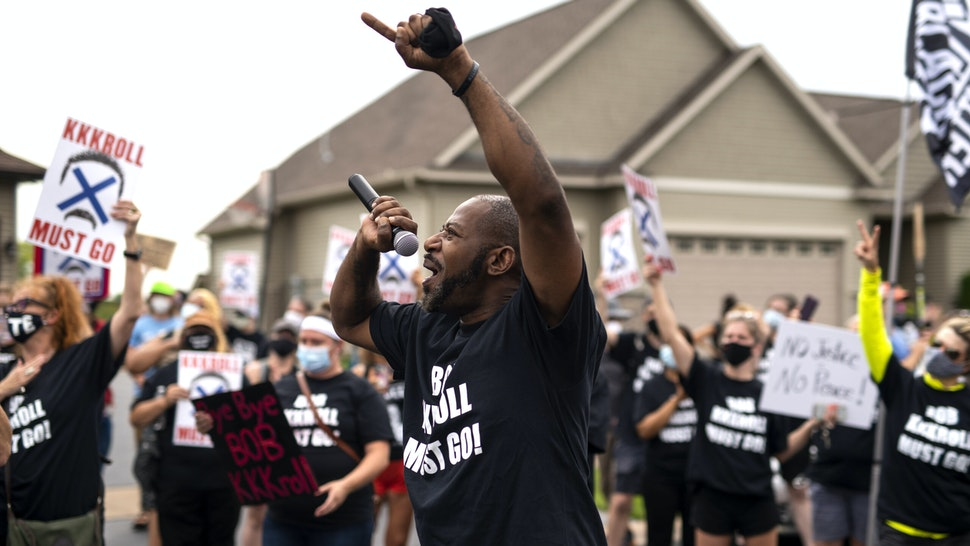 HUGO, MN - AUGUST 15: John Thompson, Minnesota Democratic candidate for district 67A, speaks during a protest near Minneapolis Police Union Chief Bob Kroll's house on August 15, 2020 in Hugo, Minnesota. Residents in Minneapolis have been calling for Kroll's resignation since George Floyd was killed by Minneapolis Police on May 25.