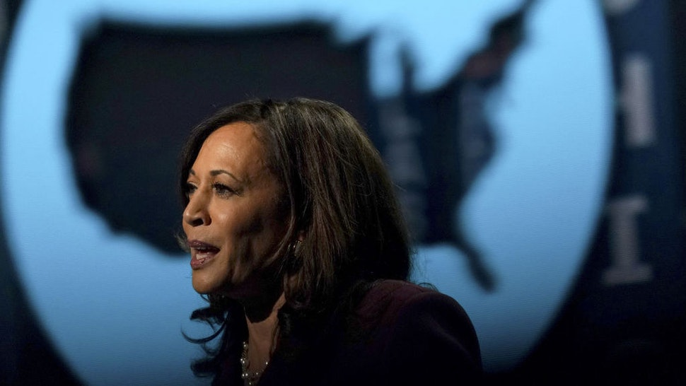Senator Kamala Harris, Democratic vice presidential nominee, speaks during the Democratic National Convention at the Chase Center in Wilmington, Delaware, U.S., on Wednesday, Aug. 19, 2020. Harris's prime-time speech is the first glimpse of how Joe Biden's campaign plans to deploy a history-making vice presidential nominee for a campaign that has largely been grounded by the coronavirus. Photographer: Stefani Reynolds/Bloomberg