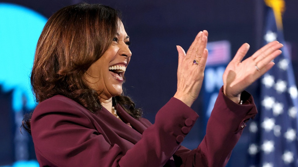 WILMINGTON, DELAWARE - AUGUST 19: Democratic vice presidential nominee U.S. Sen. Kamala Harris (D-CA) interacts with viewers via a video conference on the third night of the Democratic National Convention from the Chase Center August 19, 2020 in Wilmington, Delaware. The convention, which was once expected to draw 50,000 people to Milwaukee, Wisconsin, is now taking place virtually due to the coronavirus pandemic. Harris is the first African-American, first Asian-American, and third female vice presidential candidate on a major party ticket.
