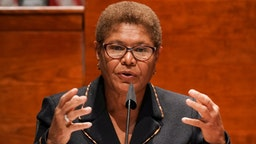 """Representative Karen Bass, a Democrat from California, speaks during a House Judiciary Committee markup on H.R. 7120, the """"Justice in Policing Act of 2020,"""" in Washington, D.C., U.S., on Wednesday, June 17, 2020. The House bill would make it easier to prosecute and sue officers and would ban federal officers from using choke holds, bar racial profiling, end """"no-knock"""" search warrants in drug cases, create a national registry for police violations, and require local police departments that get federal funds to conduct bias training."""