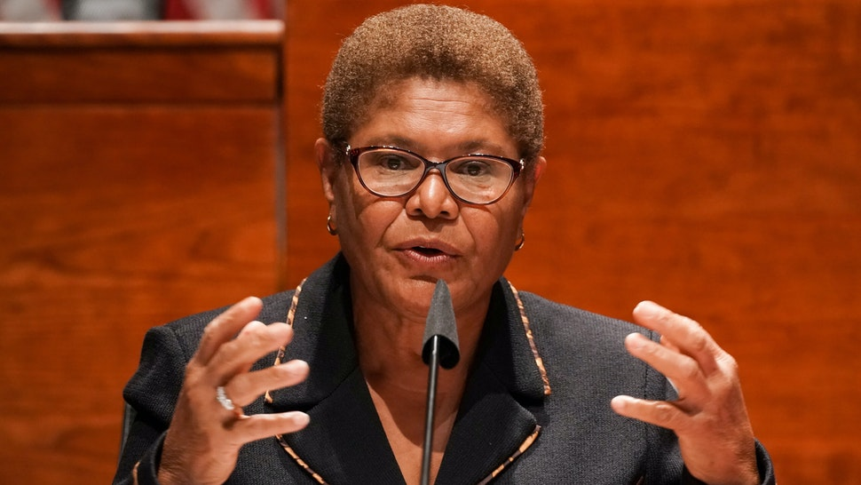 "Representative Karen Bass, a Democrat from California, speaks during a House Judiciary Committee markup on H.R. 7120, the ""Justice in Policing Act of 2020,"" in Washington, D.C., U.S., on Wednesday, June 17, 2020. The House bill would make it easier to prosecute and sue officers and would ban federal officers from using choke holds, bar racial profiling, end ""no-knock"" search warrants in drug cases, create a national registry for police violations, and require local police departments that get federal funds to conduct bias training."