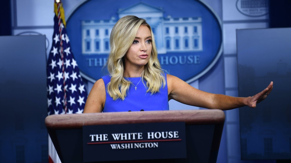 White House Press Secretary Kayleigh McEnany speaks during a press briefing in the James S. Brady Press Briefing Room at the White House, in Washington, DC on August 4, 2020.