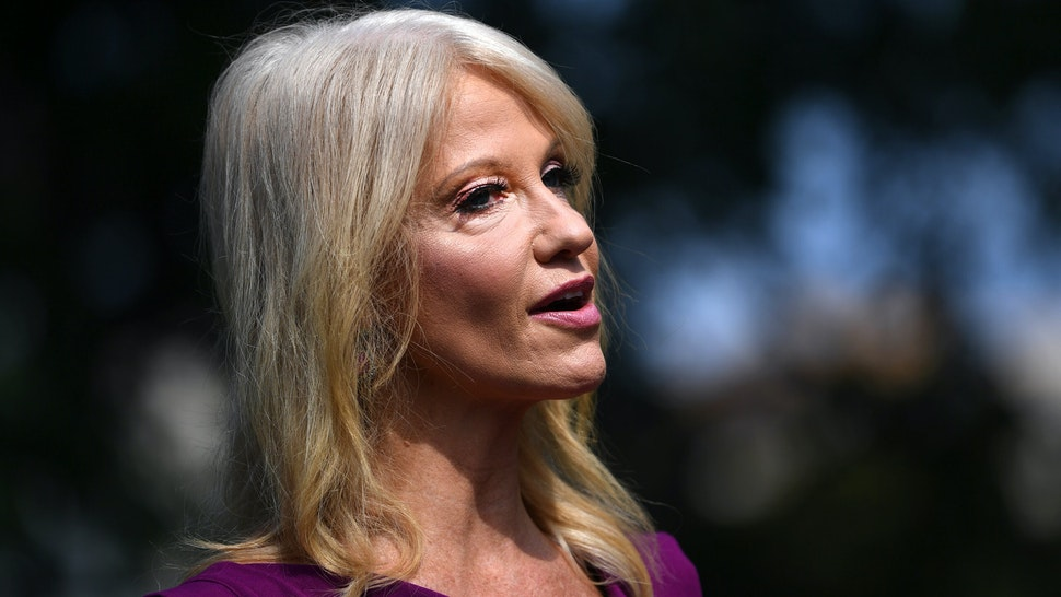 Kellyanne Conway, senior advisor to U.S. President Donald Trump, speaks to members of the media outside the White House in Washington, D.C., U.S., on Thursday, Aug. 6, 2020. Trumpplans to sign an executive order Thursday that would encourage the production of certain drugs and medical supplies in the U.S., following shortages during the Covid-19 pandemic.