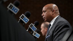 Big Ten commissioner Kevin Warren speaks about the cancellation of the men's Big 10 basketball tournament at Bankers Life Fieldhouse in Indianapolis on March 12, 2020. (Chris Sweda/Chicago Tribune/Tribune News Service via Getty Images)
