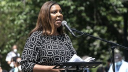 NEW YORK, UNITED STATES - 2020/06/04: New York State Attorney General Letitia James attends memorial service for George Floyd on Cadman Plaza.