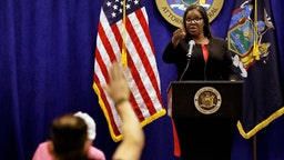 Letitia James, New York's attorney general, speaks during a news conference in New York, U.S., Thursday, Aug. 6, 2020. New York is seeking to dissolve the National Rifle Association as the state attorney general accused the gun rights group and its current and former senior officials of engaging in a massive fraud against donors. Photographer: Peter Foley/Bloomberg