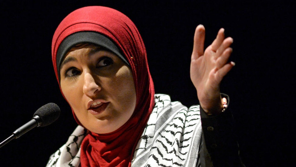 AMHERST, MA - MAY 4: Political activist Linda Sarsour speaks during a panel on free speech and the Israeli-Palestinian conflict at the University of Massachusetts campus in Amherst, Massachusetts on May 4, 2019. (Staff Photo By Christopher Evans/MediaNews Group/Boston Herald via Getty Images)