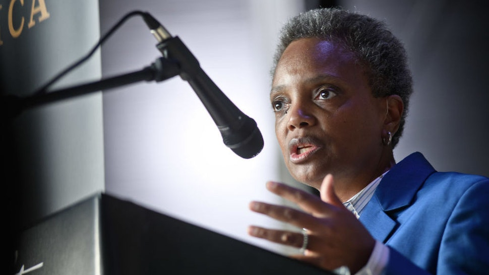 CHICAGO, IL - APRIL 26: Chicago Mayor-Elect Lori Lightfoot attends the Hamilton: The Exhibition world premiere at Northerly Island on April 26, 2019 in Chicago, Illinois. (Photo by Timothy Hiatt/Getty Images)