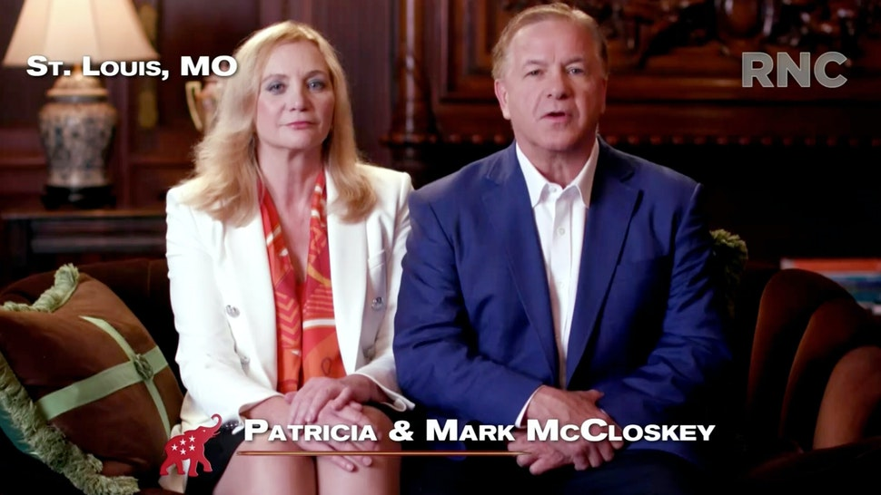 CHARLOTTE, NC - AUGUST 24: (EDITORIAL USE ONLY) In this screenshot from the RNC's livestream of the 2020 Republican National Convention, Patricia and Mark McCloskey, a couple from St. Louis who pointed guns at Black Lives Matter protesters, addresses the virtual convention in a pre-recorded video broadcasted on August 24, 2020. The convention is being held virtually due to the coronavirus pandemic but will include speeches from various locations including Charlotte, North Carolina and Washington, DC.