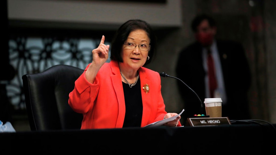 WASHINGTON, DC - JUNE 11: U.S. Sen. Mazie Hirono (D-HI) speaks at a hearing of the Judiciary Committee considering authorization for subpoenas relating to the Crossfire Hurricane investigation on June 11, 2020 in Washington, DC. Crossfire Hurricane was the code name for the FBI counterintelligence investigation that looked into links between Trump associates and Russian officials in the 2016 presidential election. (Photo by Carolyn Kaster-Pool/Getty Images)