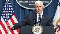 WASHINGTON, DC - JUNE 26: Vice President Mike Pence speaks after leading a White House Coronavirus Task Force briefing at the Department of Health and Human Services on June 26, 2020 in Washington, DC. Cases of coronavirus disease (COVID-19) are rising in southern and western states forcing businesses to remain closed.