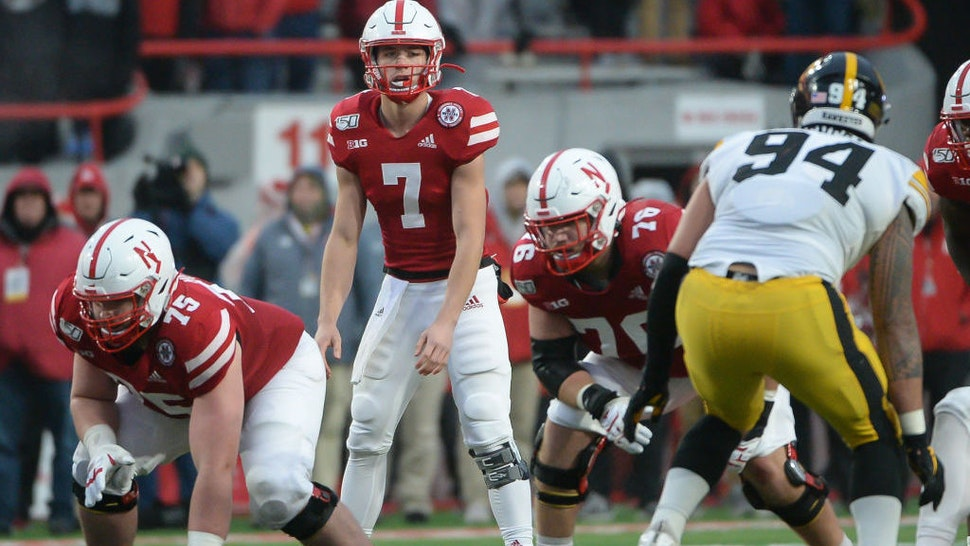 LINCOLN, NE - NOVEMBER 29: Quarterback Luke McCaffrey #7 of the Nebraska Cornhuskers looks over the line against the Iowa Hawkeyes at Memorial Stadium on November 29, 2019 in Lincoln, Nebraska. (Photo by Steven Branscombe/Getty Images)