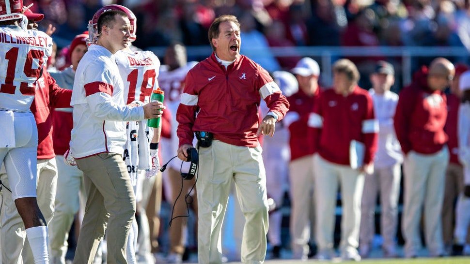 FAYETTEVILLE, AR - NOVEMBER 9: Head Coach Nick Saban of the Alabama Crimson Tide yells at his players during the second half of a game against the Mississippi State Bulldogs at Davis Wade Stadium on November 16, 2019 in Starkville, Mississippi. The Crimson Tide defeated the Bulldogs 38-7. (Photo by Wesley Hitt/Getty Images)