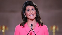 WASHINGTON, DC - AUGUST 24: Former U.S. Ambassador to the United Nations Nikki Haley stands on stage in an empty Mellon Auditorium while addressing the Republican National Convention at the Mellon Auditorium on August 24, 2020 in Washington, DC. The novel coronavirus pandemic has forced the Republican Party to move away from an in-person convention to a televised format, similar to the Democratic Party's convention a week earlier.