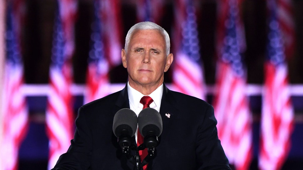 US Vice President Mike Pence speaks during the third night of the Republican National Convention at Fort McHenry National Monument in Baltimore, Maryland, August 26, 2020.