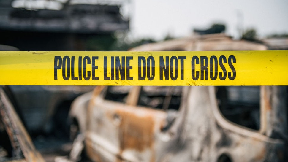 Caution tape at a burned down used car lot on August 24, 2020 in Kenosha, Wisconsin. A night of civil unrest occurred after the shooting of Jacob Blake, 29, on August 23. Blake was shot multiple times in the back by Wisconsin police officers after attempting to enter into the drivers side of a vehicle. (Photo by Brandon Bell/Getty Images)
