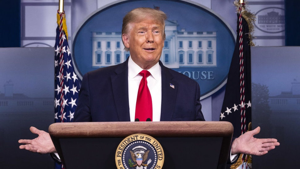 U.S. President Donald Trump speaks during a news conference in the James S. Brady Press Briefing Room at the White House in Washington, D.C., U.S., on Friday, Aug. 14, 2020. Trump announced a collaboration with McKesson Corp. to aid in vaccine distribution. Photographer: Kevin Dietsch/UPI/Bloomberg