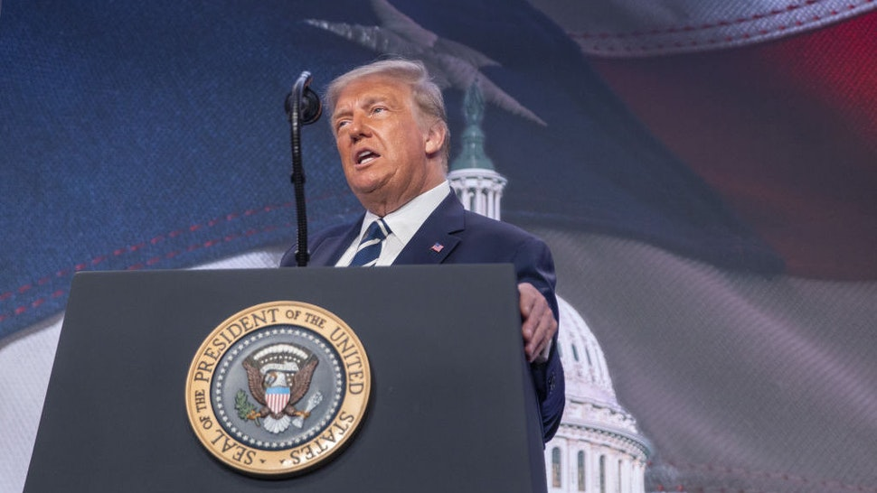 U.S. President Donald Trump speaks at the 2020 Council for National Policy Meeting in Arlington, Virginia, U.S., on Friday, Aug. 21, 2020. Trump said that he isn't trying to steal the election and that the results may not be known for weeks. Photographer: Tasos Katopodis/UPI/Bloomberg