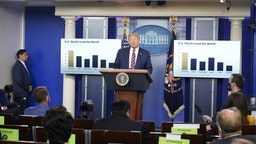 U.S. President Donald Trump speaks during a news conference in the James S. Brady Press Briefing Room at the White House in Washington, D.C., U.S. on Wednesday, Aug. 12, 2020. Trump stepped up his effort to push school systems to reopen by hosting an event at the White House featuring parents, educators and researchers who argued for in-person learning. Photographer: Chris Kleponis/Polaris/Bloomberg via Getty Images