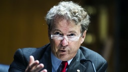 UNITED STATES - AUGUST 04: Sen. Rand Paul, R-Ky., asks a question during the Senate Foreign Relations Committee hearing titled Venezuela in Maduro's Grasp: Assessing the Deteriorating Security and Humanitarian Situation, in Dirksen Building on Tuesday, August 4, 2020. Elliott Abrams, U.S. special representative for Venezuela, and Joshua Hodges, senior deputy assistant administrator for Latin America and the Caribbean, testified.