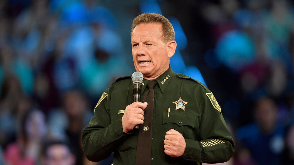 Broward County Sheriff Scott Israel speaks before the start of a CNN town hall meeting on February 21, 2018, at the BB&T Center, in Sunrise, Fla. Israel said it made him 'sick to my stomach' when he learned that the school resource officer had not entered Marjory Stoneman Douglas to confront the shooter. (Michael Laughlin/Sun Sentinel/TNS)