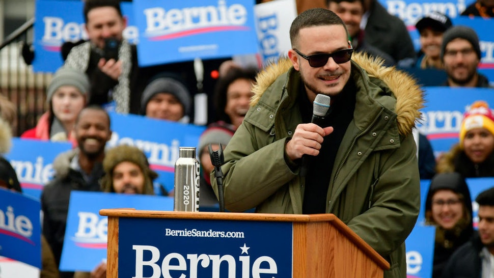 Activist and journalist Shaun King takes the stage to stump for Sen. Bernie Sanders (I-VT) during the 2020 campaign kick-off at Brooklyn College in Brooklyn, NY on March 2, 2019. (Photo by Bastiaan Slabbers/NurPhoto via Getty Images)