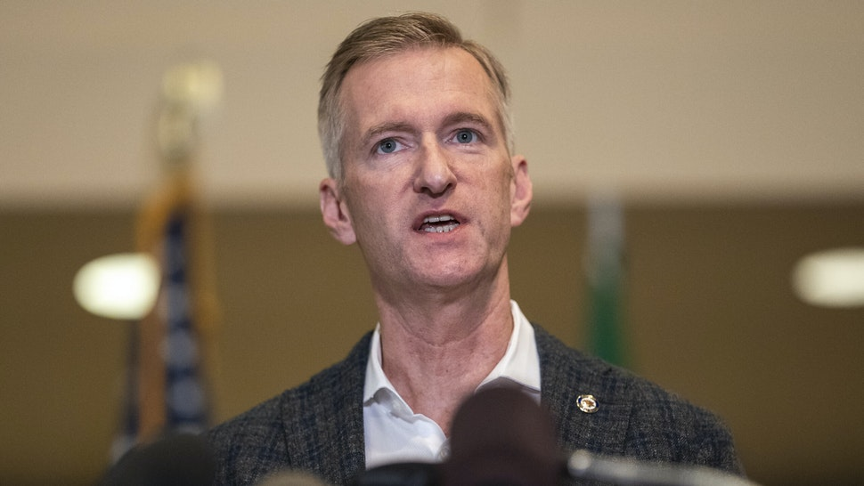 PORTLAND, OR - AUGUST 30: Portland Mayor Ted Wheeler speaks to the media at City Hall on August 30, 2020 in Portland, Oregon. A man was fatally shot Saturday night as a Pro-Trump rally clashed with Black Lives Matter protesters in downtown Portland.