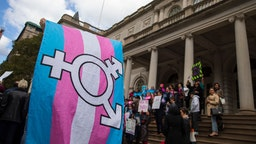 L.G.B.T. activists and their supporters rally in support of transgender people on the steps of New York City Hall, October 24, 2018 in New York City. The group gathered to speak out against the Trump administration's stance toward transgender people. Last week, The New York Times reported on an unreleased administration memo that proposes a strict biological definition of gender based on a person's genitalia at birth. (Photo by Drew Angerer/Getty Images)
