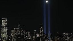 NEW YORK, NY - SEPTEMBER 11: The 'Tribute in Light' rises skyward on the 18th anniversary of the 9/11 terrorist attacks, September 11, 2019 in New York City.