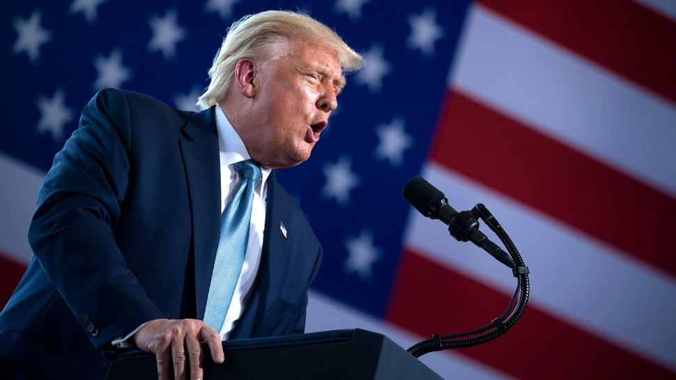 US President Donald Trump speaks during a rally at Yuma International Airport August 18, 2020, in Yuma, Arizona.
