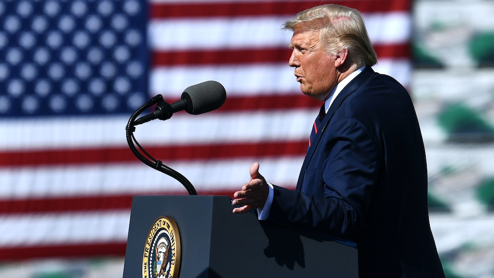 US President Donald Trump speaks outside Mariotti Building Products in Old Forge, Pennsylvania, on August 20, 2020.