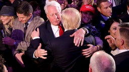 NEW YORK, NY - NOVEMBER 09: Republican president-elect Donald Trump hugs his brother Robert Trump after delivering his acceptance speech at the New York Hilton Midtown in the early morning hours of November 9, 2016 in New York City. Donald Trump defeated Democratic presidential nominee Hillary Clinton to become the 45th president of the United States.
