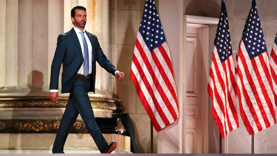 WASHINGTON, DC - AUGUST 24: Donald Trump Jr. steps out on stage before pre-recording his address to the Republican National Convention at the Mellon Auditorium on August 24, 2020 in Washington, DC. The novel coronavirus pandemic has forced the Republican Party to move away from an in-person convention to a televised format, similar to the Democratic Party's convention a week earlier.