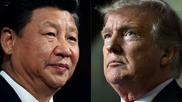 """(COMBO) This combination of pictures created on May 14, 2020 shows recent portraits of China's President Xi Jinping (L) and US President Donald Trump. - US President Donald Trump said on May 14, 2020, he is no mood to speak with China's Xi Jinping, warning darkly he might cut off ties with the rival superpower over its handling of the coronavirus pandemic. """"I have a very good relationship, but I just -- right now I don't want to speak to him,"""" Trump told Fox Business."""