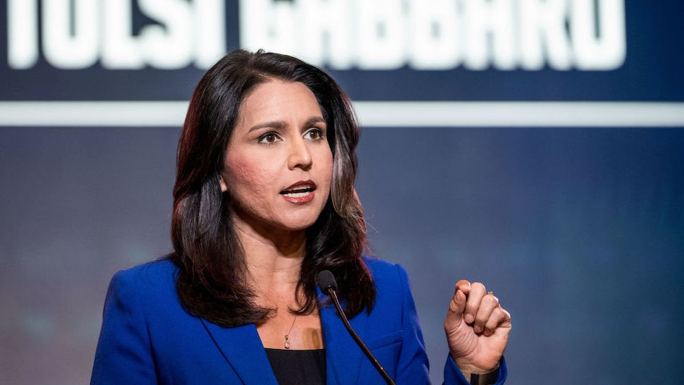 COLUMBIA, SC - JUNE 22: Democratic presidential candidate Rep. Tulsi Gabbard (R-HI) speaks to the crowd during the 2019 South Carolina Democratic Party State Convention on June 22, 2019 in Columbia, South Carolina. Democratic presidential hopefuls are converging on South Carolina this weekend for a host of events where the candidates can directly address an important voting bloc in the Democratic primary.