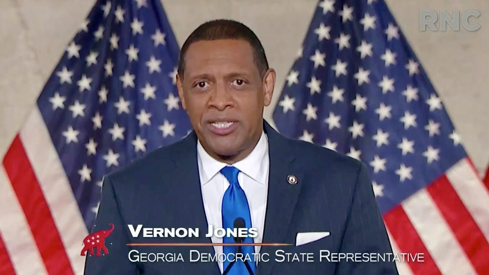 CHARLOTTE, NC - AUGUST 24: (EDITORIAL USE ONLY) In this screenshot from the RNC's livestream of the 2020 Republican National Convention, U.S. Rep. Vernon Jones (D-GA) addresses the virtual convention on August 24, 2020. The convention is being held virtually due to the coronavirus pandemic but will include speeches from various locations including Charlotte, North Carolina and Washington, DC.