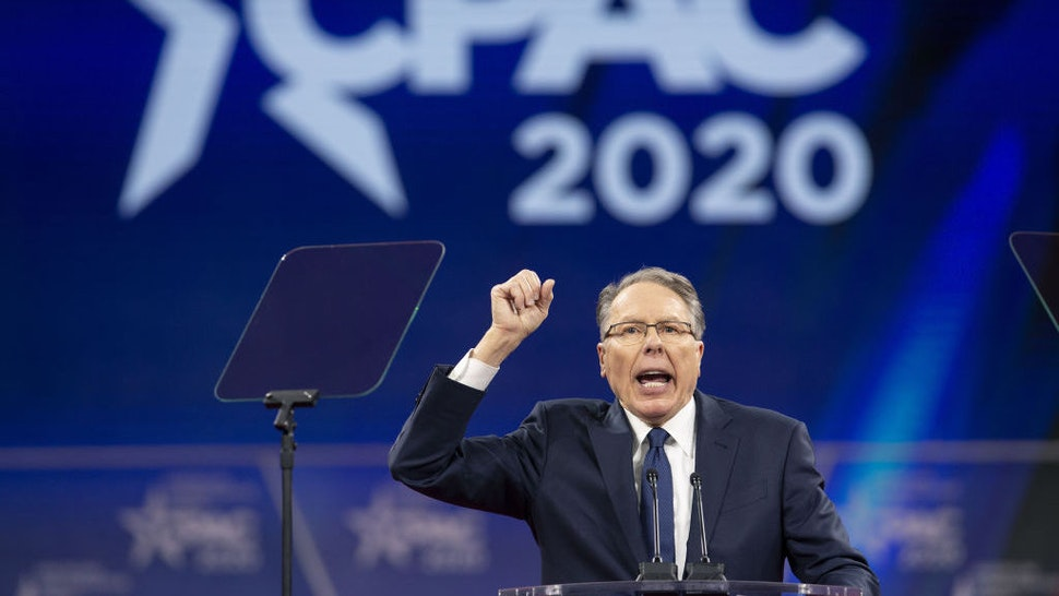 Wayne LaPierre, chief executive officer of the National Rifle Association (NRA), speaks during the Conservative Political Action Conference (CPAC) in National Harbor, Maryland, U.S., on Saturday, Feb. 29, 2020. President Trump will address this years CPAC after seeking to close ranks within his administration about the threat posed by the coronavirus and how the U.S. government plans to stop its spread following mixed messages that rattled Wall Street. Photographer: Stefani Reynolds/Bloomberg